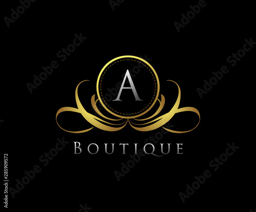 Fototapeta Golden Logo With A Letter In Royal Shield Vector Logo Template Used For Hotel Restaurant Boutique Jewellery Invitation Business Card