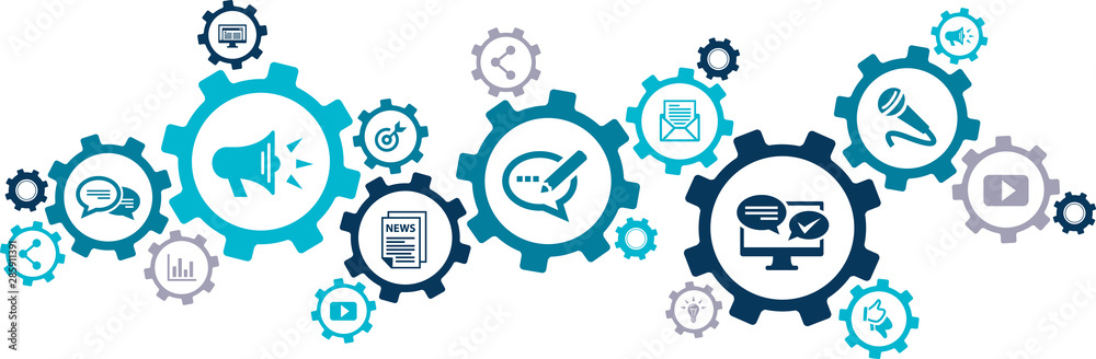 Fototapeta public relations icon concept: pr / media relations / marketing & publicity symbols - vector illustration
