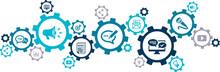Public Relations Icon Concept: Pr / Media Relations / Marketing & Publicity Symbols - Vector Illustration
