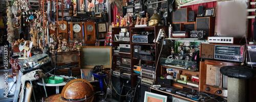 Flea market, swap meet, old rare retro things, vintage objects Tableau sur Toile