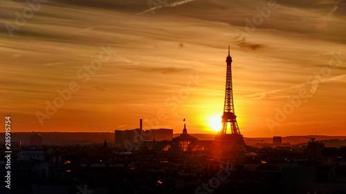 Poster Paris Paris cityscape at sunset - eiffel tower, FRANCE