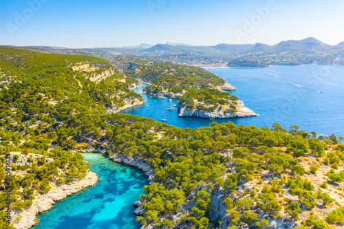 Foto auf Leinwand Himmelblau Panoramic view of Calanques National Park near Cassis fishing village, Provence, South France, Europe, Mediterranean sea