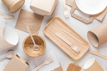 Eco Friendly Dishes. Disposable Paper Cups, Dishes, Fast Food Containers, Wooden Bowl And Bamboo Cutlery. Flat Lay