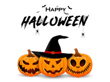 Halloween Banner Design With Smiling Pumpkin Character. Orange Pumpkin With Smile For Your Design For The Holiday Halloween. Vector Illustration.