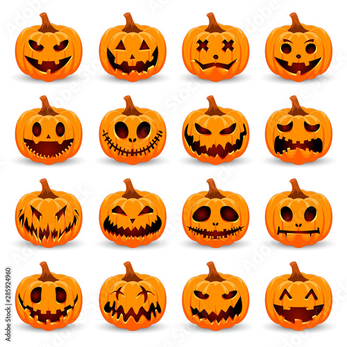 Spoed Fotobehang Halloween Set pumpkin on white background. The main symbol of the Happy Halloween holiday. Orange pumpkin with smile for your design for the holiday Halloween. Vector illustration.