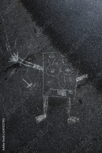 SpongeBob painted on the Street Asphalt Wallpaper Mural
