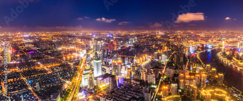 Foto auf AluDibond Shanghai Aerial view and skyline of Shanghai cityscape