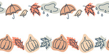 Cute Vector Seamless Border With Autumn Maple Leaves, Pumpkins, Umbrellas, Birds, Clouds And Rain.