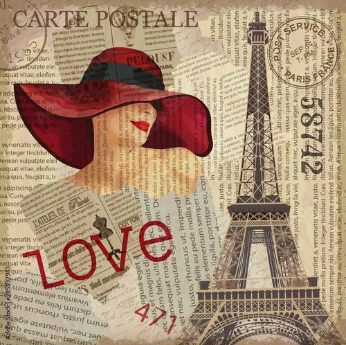 Cuadros en Lienzo Vintage poster Paris torn newspaper background.