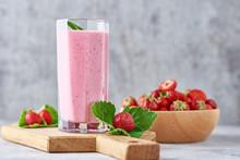 Strawberry Milk Shake In A Gla...