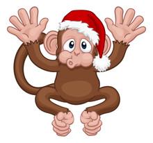A Christmas Monkey Animal Cart...