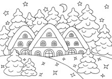 Houses In The Winter Forest - Coloring Page