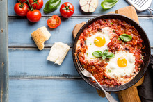 Shakshuka, Fried Eggs In Tomat...