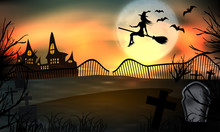 Halloween Background Glow. Young Witch Flying On A Broomstick On The Background Of A Full Moon Over The Graveyard With Tombstones. Vector