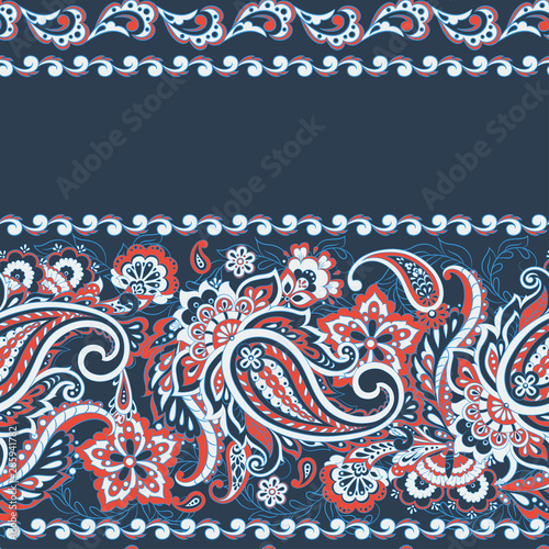 Paisley and ethnic flowers seamless vector pattern Canvas Print