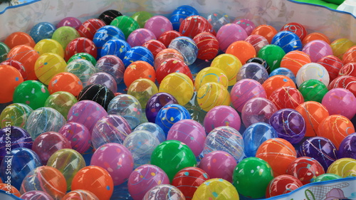 colorful beads on a blue background