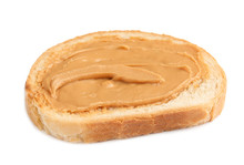 Slice Of Bread With Peanut Butter On White Background