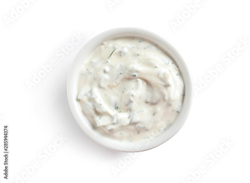 Delicious tartar sauce in bowl on white background, top view Canvas Print