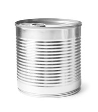 Closed Tin Can Isolated On Whi...