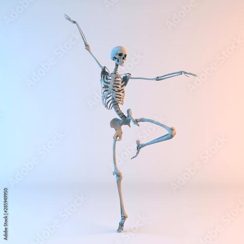 3D Illustration of Happy Dancing Skeleton