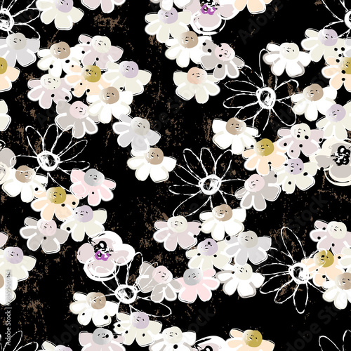 floral seamless pattern background, with little flowers, paint strokes and splashes, on black