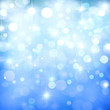 canvas print picture Blue Abstract Festive Background With Stars And Bokeh Lights