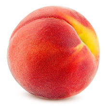 Peach Isolated On White Background, Clipping Path, Full Depth Of Field