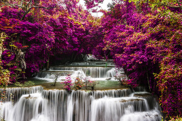 Fototapeta Las amazing of huay mae kamin waterfall in colorful autumn forest at Kanchanaburi, thailand