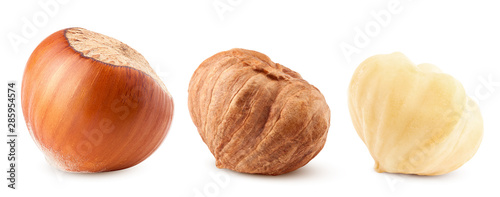 Papel de parede hazelnut isolated on white background, clipping path, full depth of field