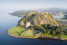 Dumbarton Castle On Volcanic Rock Aerial View From Above