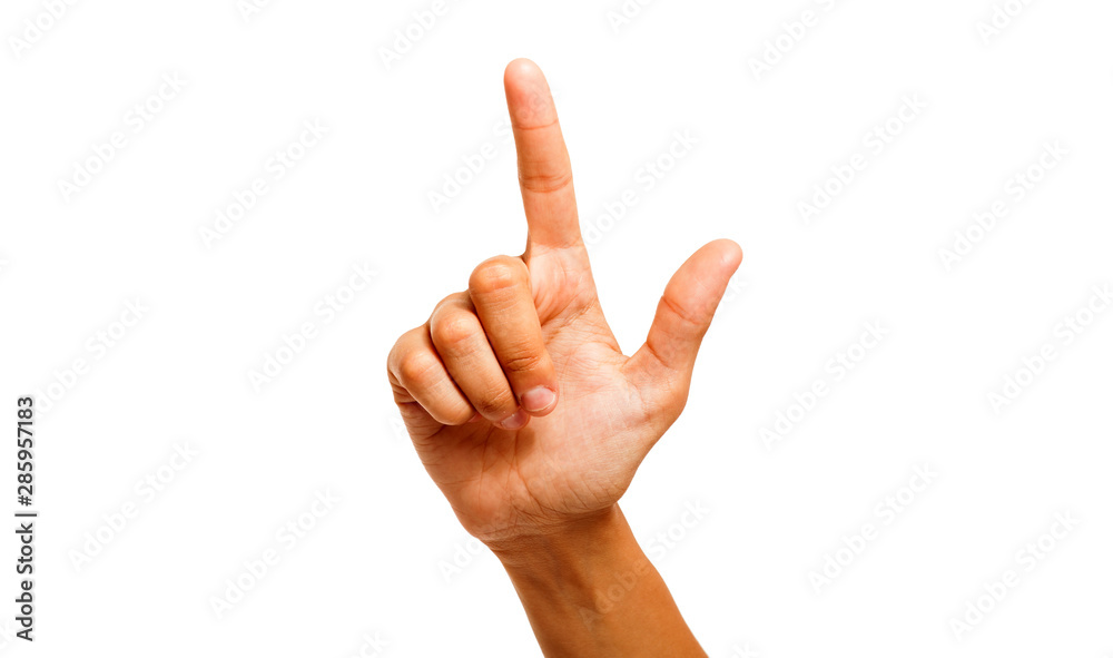 Fototapety, obrazy: Female hand with finger up isolated on white