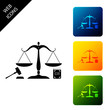 Scales of justice, gavel and book icon isolated on white background. Symbol of law and justice. Concept law. Legal law and auction symbol. Set icons colorful square buttons. Vector Illustration
