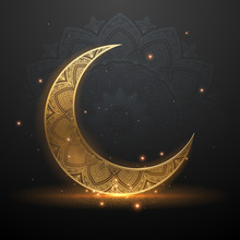 Eid Mubarak Golden Light Illus...