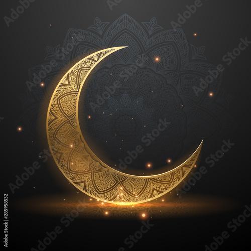 Eid mubarak golden light illustration background Fotobehang