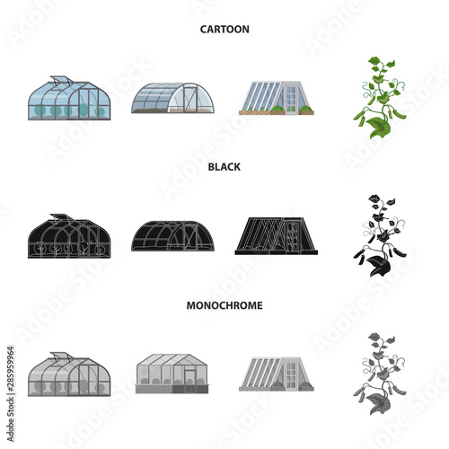 Canvas Print Vector illustration of greenhouse and plant icon