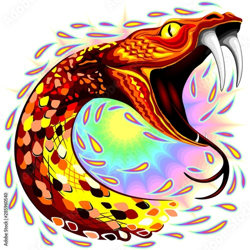 Foto op Canvas Draw Snake Attack Psychedelic Art Vector Illustration