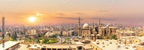 Recess Fitting Panorama Photos Mosque-Madrassa of Sultan Hassan in the sunset panorama of Cairo, Egypt