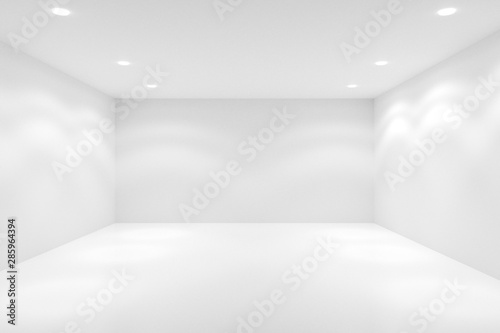 Fotomural  Empty white room with spotlights in the ceiling - gallery or modern interior tem