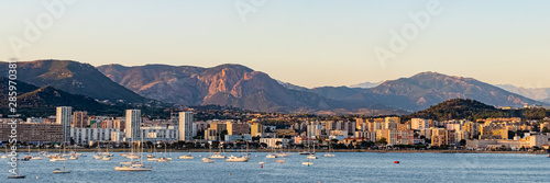 panoramic view of Ajaccio, Corsica, in the evening light Canvas Print