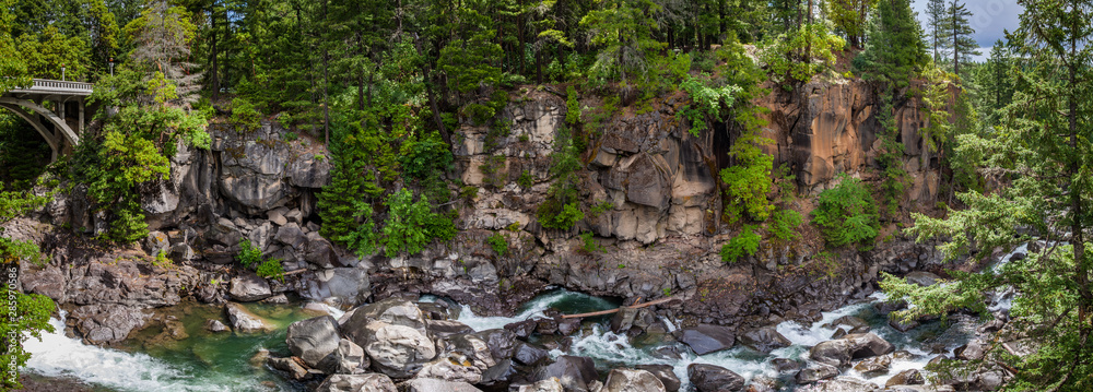 Fototapeta Panorama of a bridge on the left with a creek running between boulders in a narrow steep canyon in a dense forest near the Rogue River in Oregon