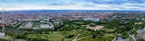 Munich, Germany - Panoramic view from the observation deck (Olimpic Tower) in a cloudy day Tablou Canvas
