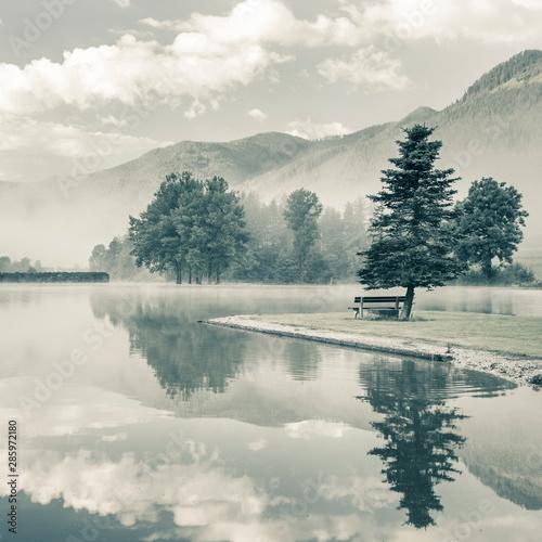 Autocollant pour porte Rivière de la forêt Morning on a lake with alone tree and bench