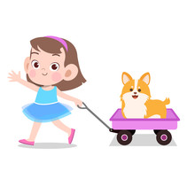 Happy Kid Girl Pulling Wagon Toys Pet Vector