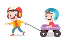 Happy Kid Play With Wagon Vector Illustration