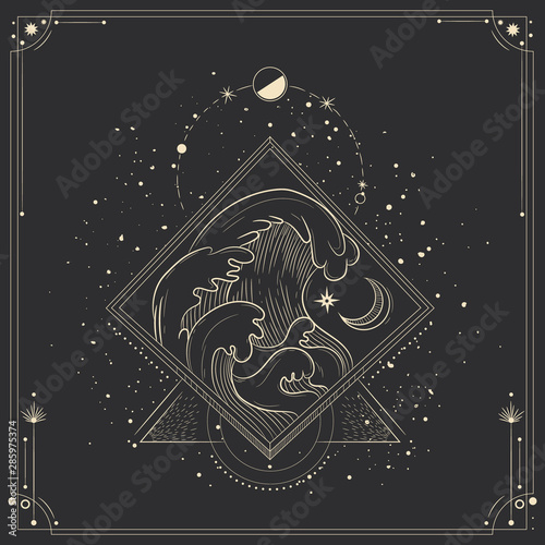Obraz Vector illustration set of moon phases. Different stages of moonlight activity in vintage engraving style. Zodiac Signs - fototapety do salonu