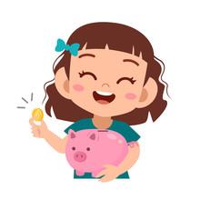 Happy Kid Holding Piggy Bank V...