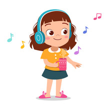 Happy Kid Listening Music Vector