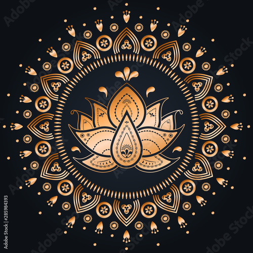 Photo sur Aluminium Style Boho Gold flower lotus mandala on dark background. Vector folk and boho print design