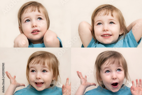 collage of four photos with funny admiration emotional white child girl face clo Canvas Print