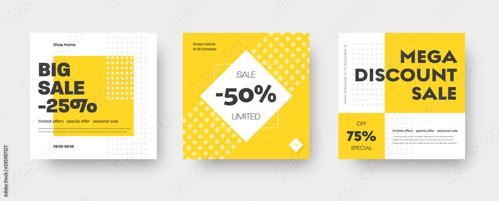 Fototapeta Vector square web banner templates for big and mega sale with yellow square elements.